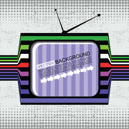retro tv on grunge background Vector