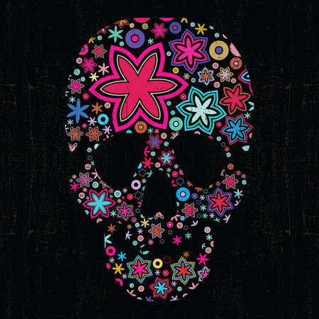 Colorful skull on black grunge background Stock Vector - 14098489