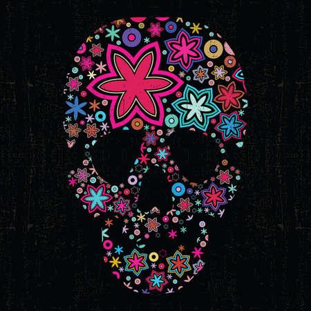 Colorful skull on black grunge background