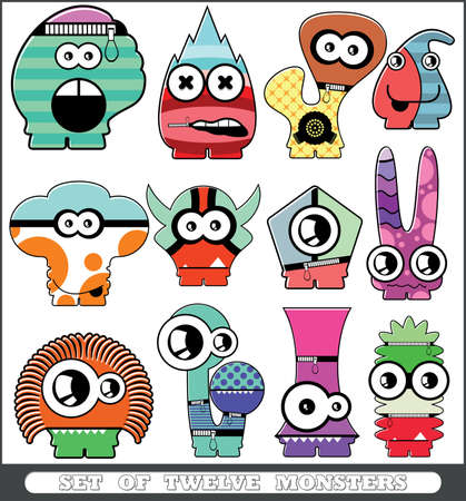 Set of twelve monsters Stock Vector - 14308337
