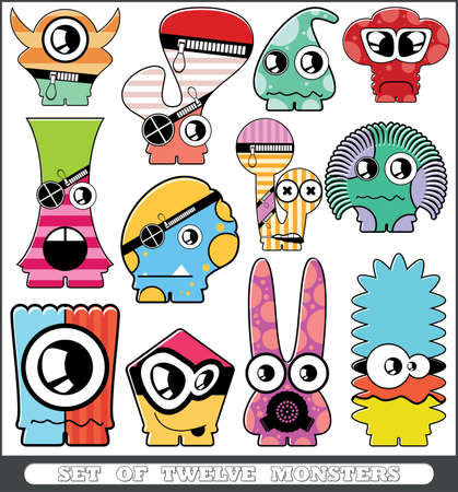 Set of twelve monsters Stock Vector - 14320199