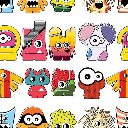 cartoon monster: Monster seamless
