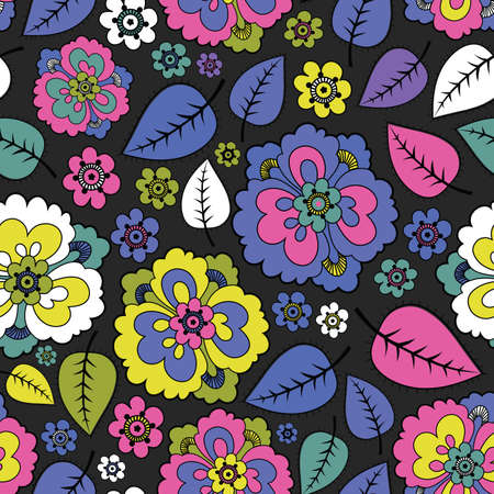 textile image: Flowers and leafs - seamless pattern