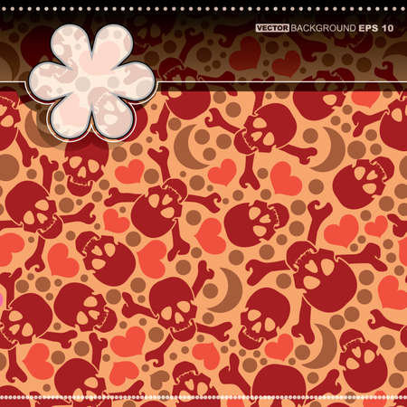 Card with skulls and hearts Stock Vector - 14451308