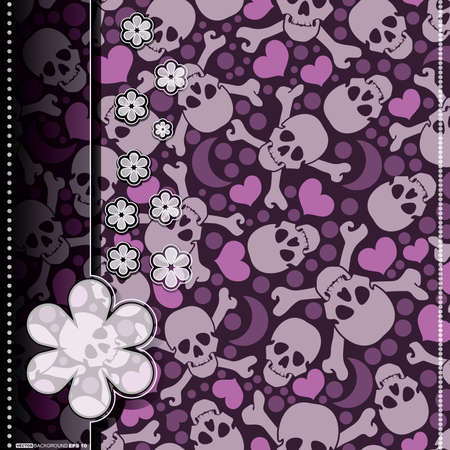 Card with hearts and skulls Vector