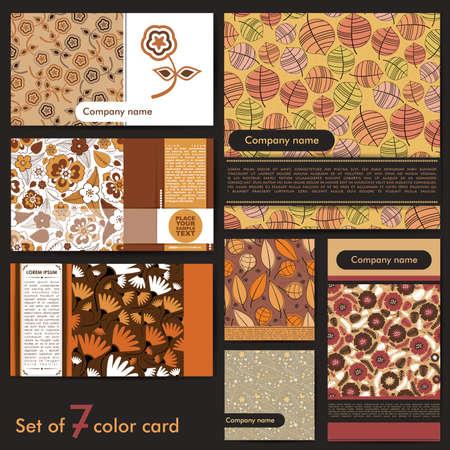 Set of seven colorful floral cards