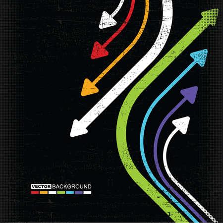 abstract colorful arrows on grunge background Ilustração