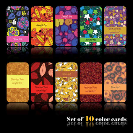 Set of ten colorful autumn cards Stock Vector - 15012122