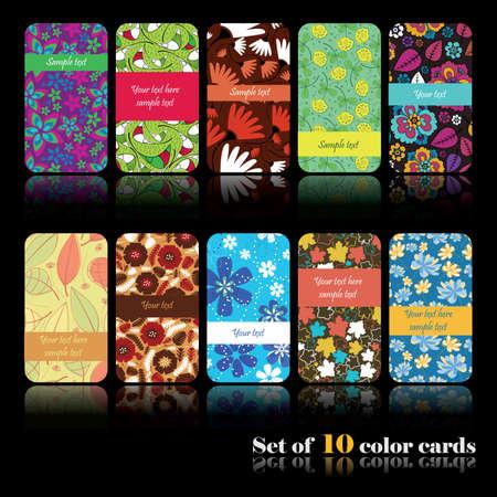 Set of ten colorful autumn cards Illustration