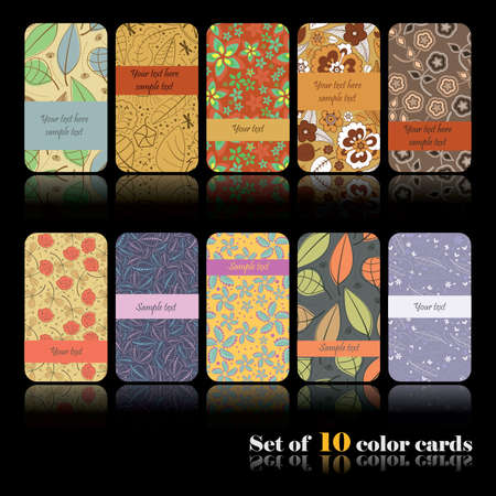 Set of ten colorful autumn cards Stock Vector - 15012121