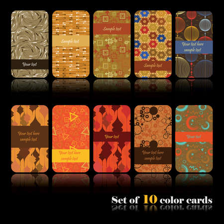 Set of ten decorative cards Vector