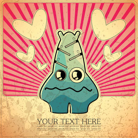 Monster on retro background Stock Vector - 15077536