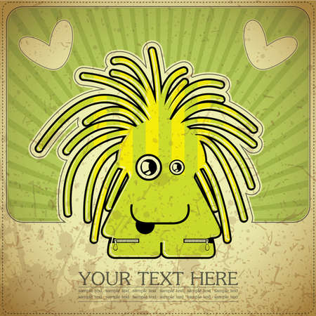 Monster on retro background Stock Vector - 15077529