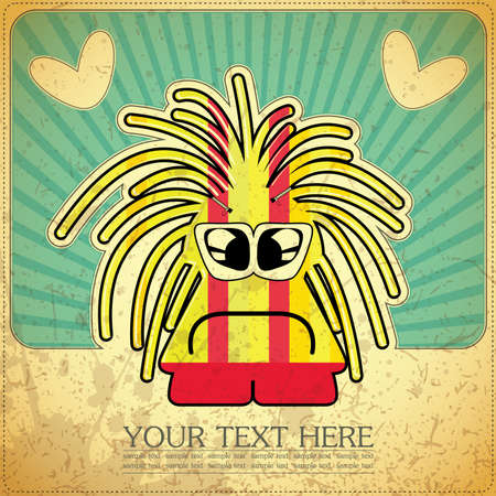 Monster on retro background Stock Vector - 15077514