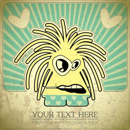 Monster on retro background Stock Vector - 15077515