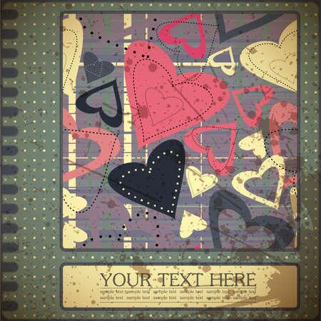 Retro valentine`s day card Stock Vector - 15161551