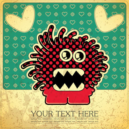 Monster on retro background Stock Vector - 15497872