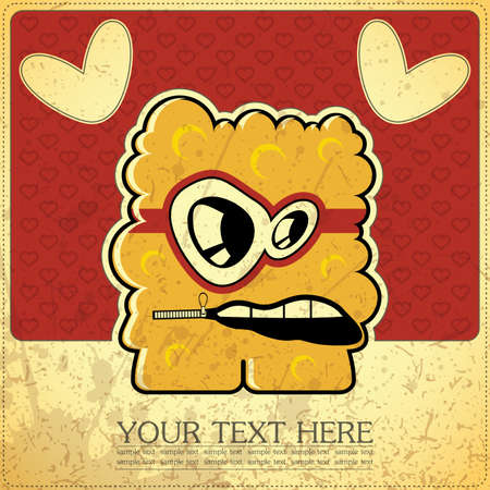 Monster on retro background Stock Vector - 15496526