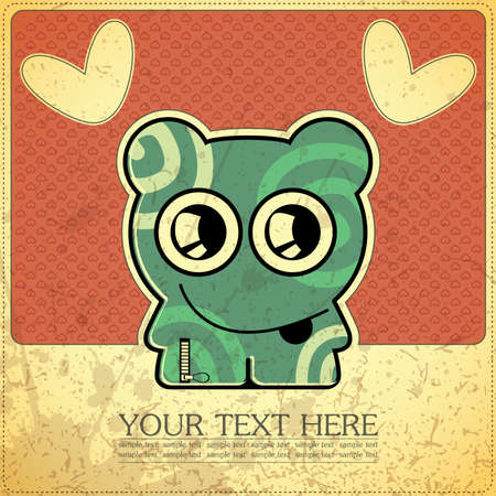 Monster on retro background Stock Vector - 15497893