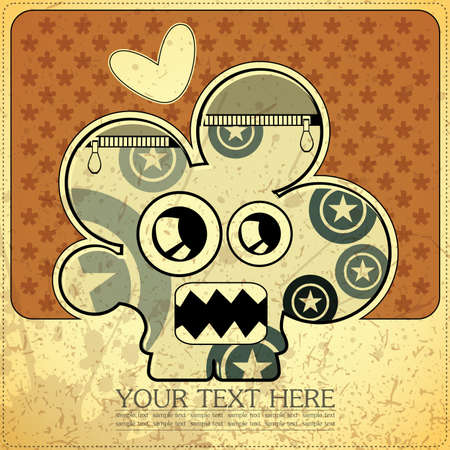 Monster on retro background Stock Vector - 15253752