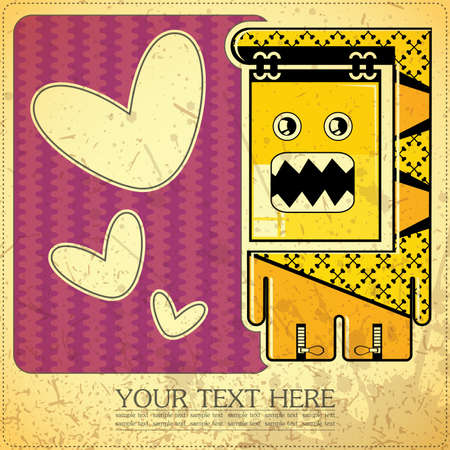 Monster on retro background Stock Vector - 15311596