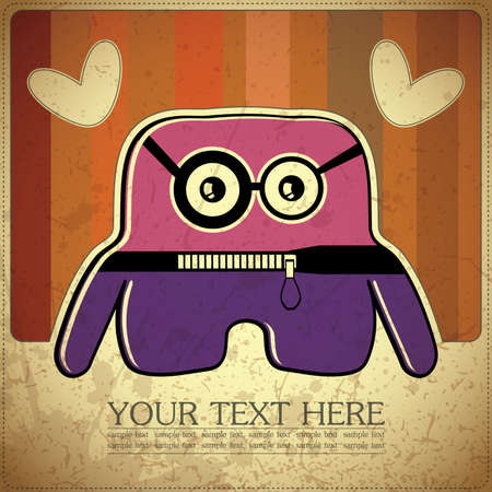 Monster on retro background Stock Vector - 15311598