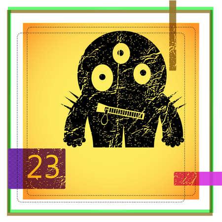 Monster on retro background Stock Vector - 15330021
