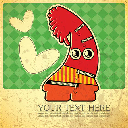 Monster on retro background Stock Vector - 15483609