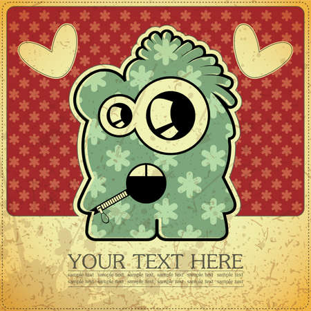 Monster on retro background Stock Vector - 15483626