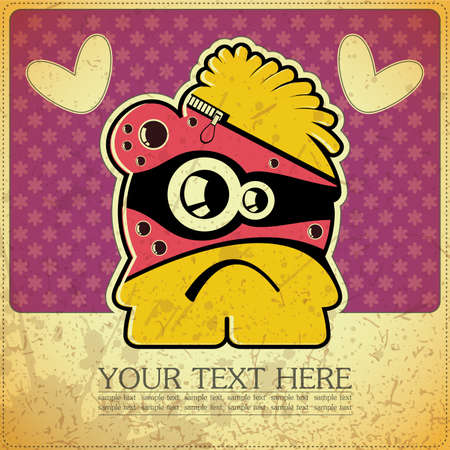 Monster on retro background Stock Vector - 15483615