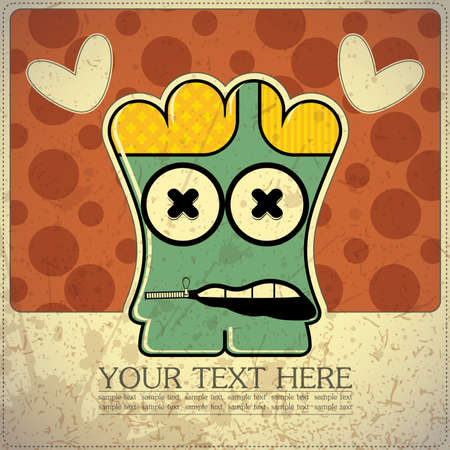 Monster on retro background Stock Vector - 15483603