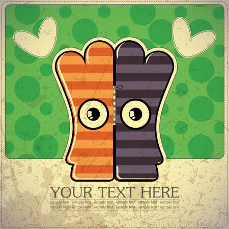 Monster on retro background Stock Vector - 15483623