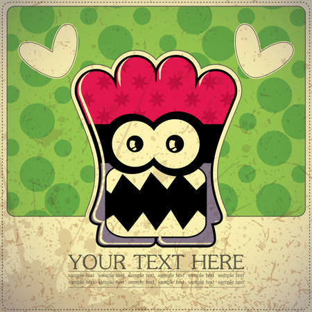 Monster on retro background Stock Vector - 15483621