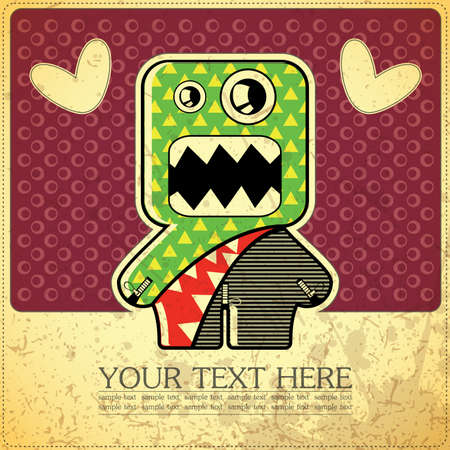 funny robot: Monster on retro background