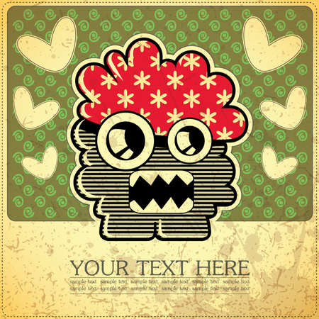 style: Monster on retro background