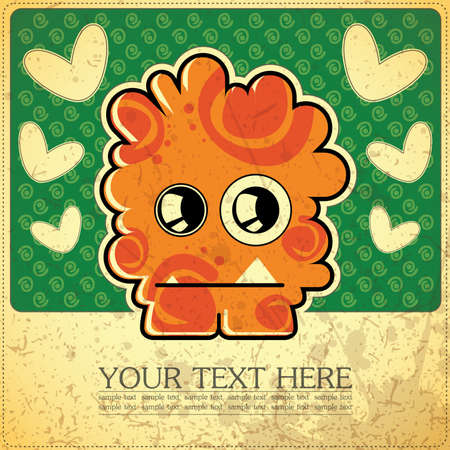 Monster on retro background Stock Vector - 15640165