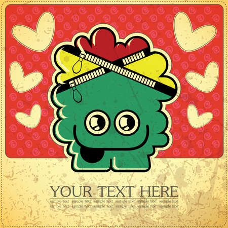 Monster on retro background Stock Vector - 15640154