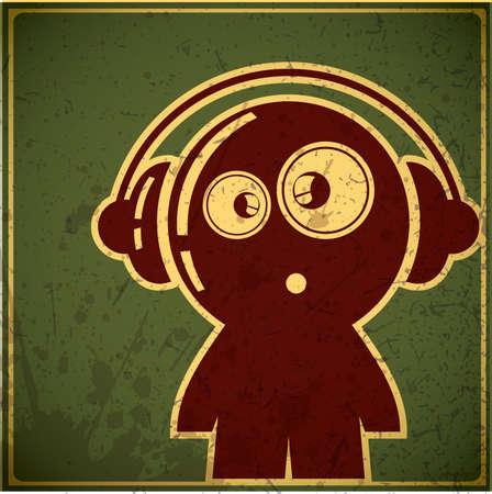 audifonos: chico divertido con los auriculares Vectores