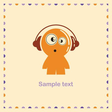Boy in headphones Ilustração