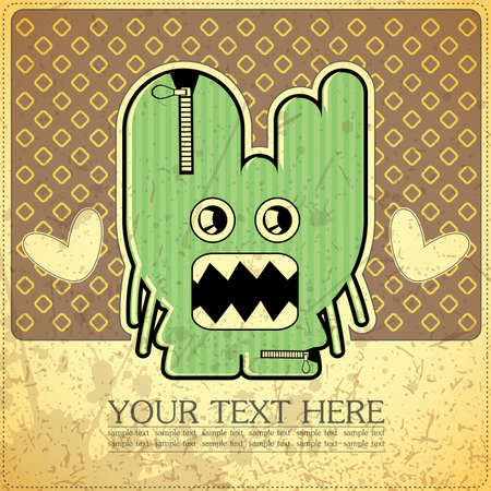 Monster on retro background Stock Vector - 15787719