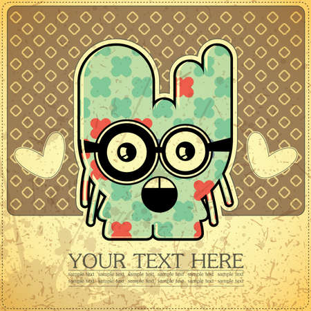 Monster on retro background Stock Vector - 15787687
