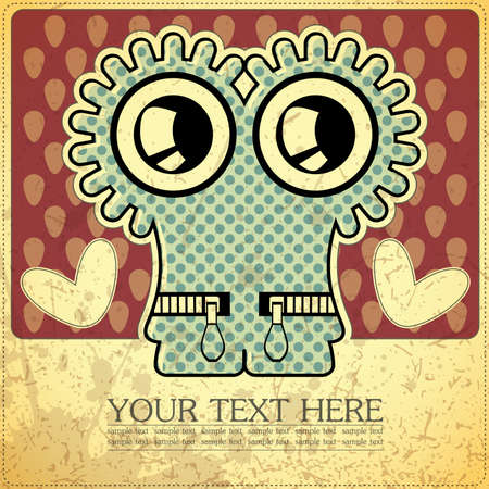Monster on retro background Stock Vector - 15787701