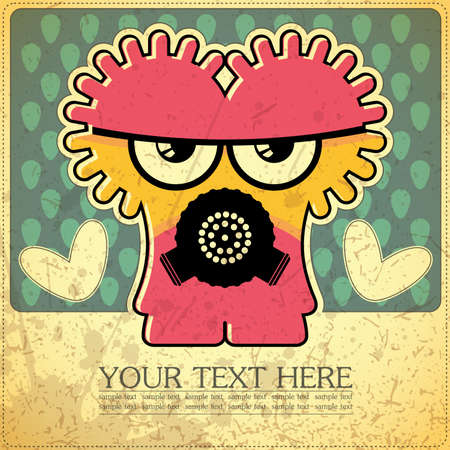 Monster on retro background Stock Vector - 15787080