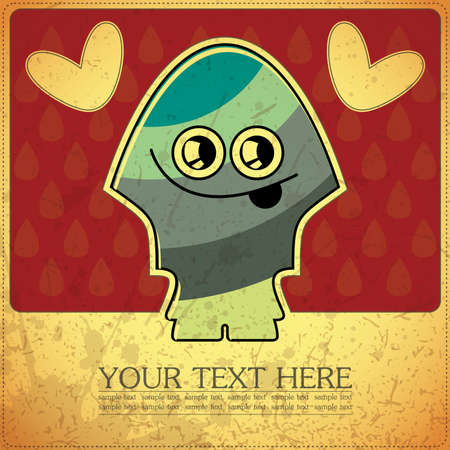 Monster on retro background Stock Vector - 15787270