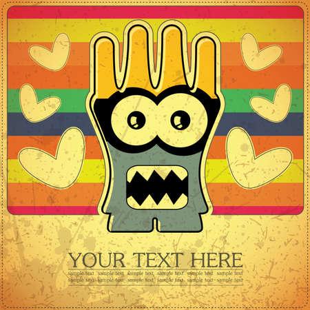 Monster on retro background Stock Vector - 15787151