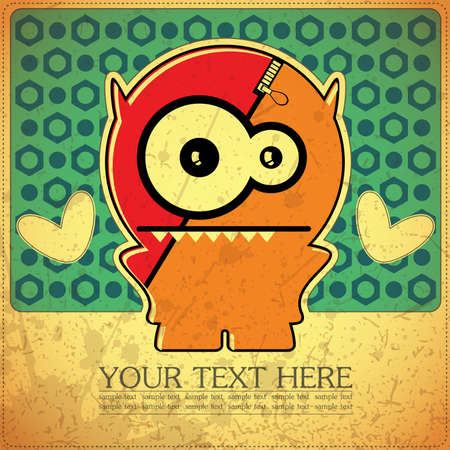 Monster on retro background Stock Vector - 15787295