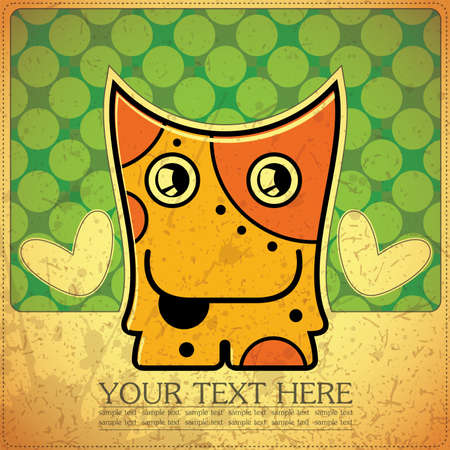 Monster on retro background Stock Vector - 15817566