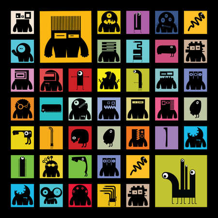 Set of monsters Vector