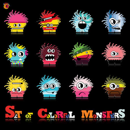 Set of twelve colorful monsters Stock Vector - 15835142