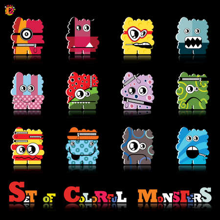 Set of twelve colorful monsters Stock Vector - 15835110